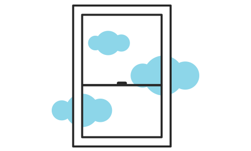 Illustration of a window with clouds behind it.