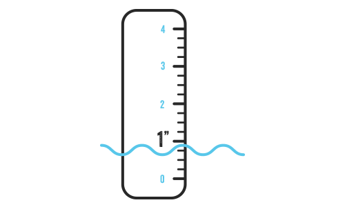 Illustration of a ruler with 1 inch highlighted in water.